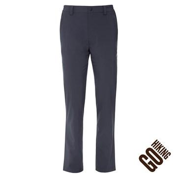 【GoHiking】男四向彈性抗UV直筒長褲-灰色
