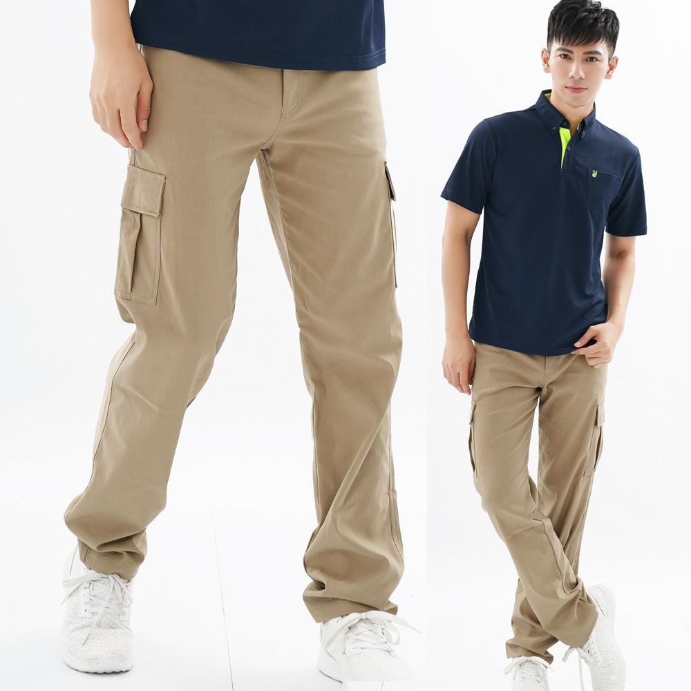 遊遍天下 多口袋款修身彈力時尚休閒長褲P136卡其