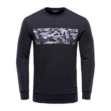 【BLACKYAK】男印花長袖刷毛圓領上衣-黑色