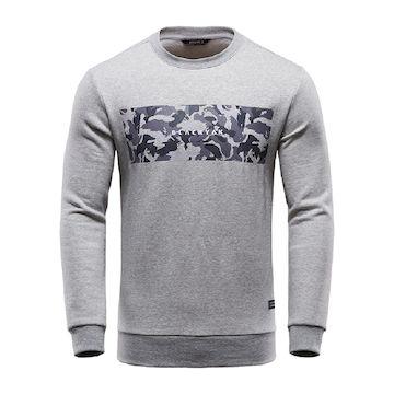 【BLACKYAK】男印花長袖刷毛圓領上衣-灰色