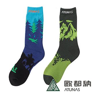 【ATUNAS 歐都納】繽紛趣味圖案保暖雪襪2雙一組(厚底/毛巾底/防寒/柔暖/舒適A-A1730綠/深藍)