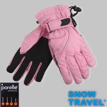 【SNOW TRAVEL】英國進口PORELLE防水保暖透氣薄手套AR-52(粉)/M號(女)/滑雪/騎車/戶外/雨天