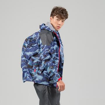BrightDay犀力背包兩件式風雨衣-藍迷彩
