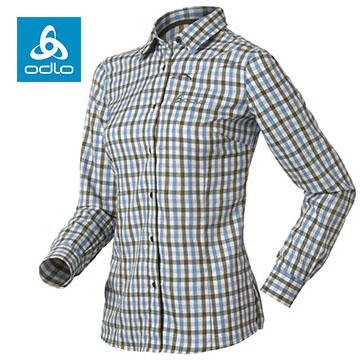 【ODLO】女銀離子彈性長袖格子襯衫524191 (66720 草綠格)