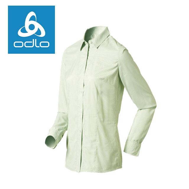 【瑞士ODLO】女快乾型長袖細格襯衫 502691 (61960-白/綠)