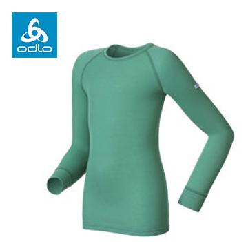 ODLO童保暖衣圓領銀離子10459(綠40500)
