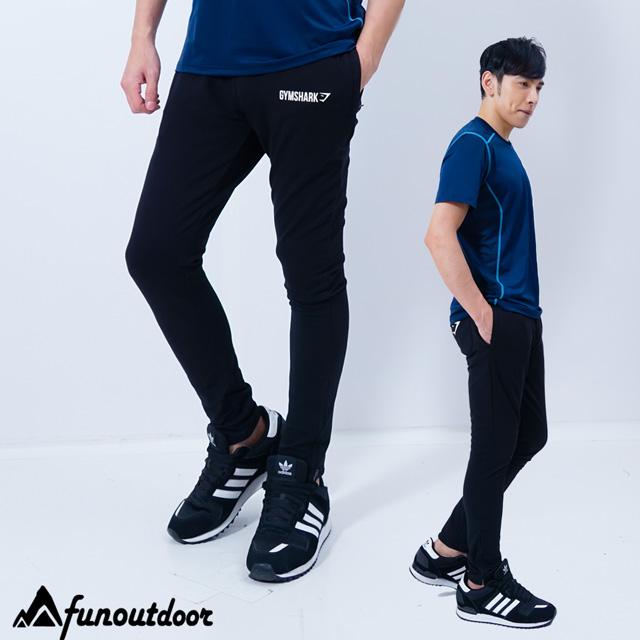 【美國-戶外趣】美國原創 男款彈力舒適健身跑步休閒運動棉長褲(C2613 黑)