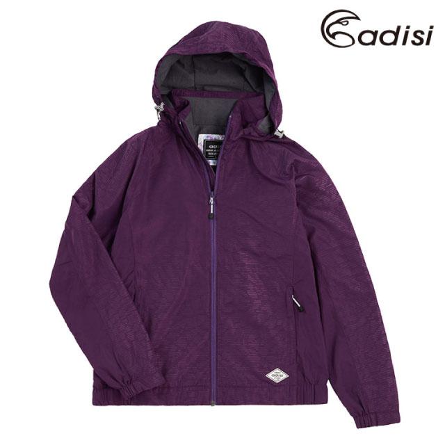 ADISI AJ1921064女天鵝絨超撥水防風保暖可拆帽外套/深茄紫