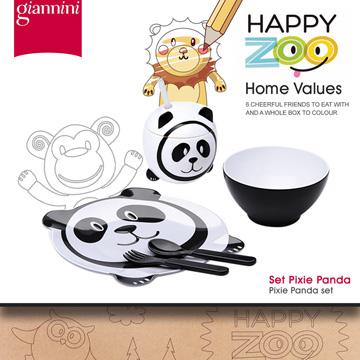 【義大利Giannini】HAPPY ZOO兒童餐盤禮盒組★Pixie Panda精靈熊貓