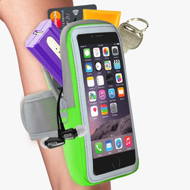 【活力揚邑】防水透氣排汗反光跑步自行車手機觸控雙層運動臂包臂套臂袋-5.7吋以下通用X亮綠色