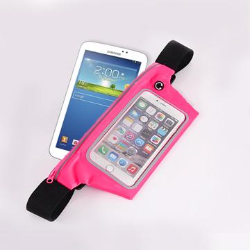 【活力揚邑】防水防竊可觸控彈性反光手機平板腰包腰帶粉色-7吋以下通用