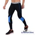 【SUPERFEATURING】專業跑步 三鐵 Hicolor運動壓縮緊身褲 亮藍