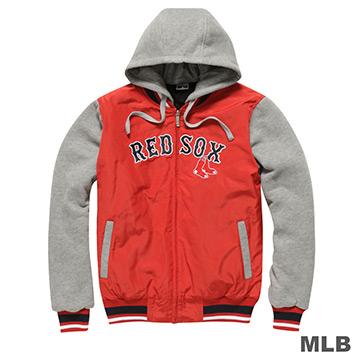 MLB-波士頓紅襪隊鋪棉連帽針織撞色棒球外套-紅(男)