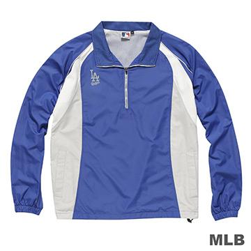 MLB-洛杉磯道奇隊開門襟長袖防風球衣-藍(男)