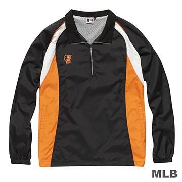 MLB-巴爾的摩金鶯隊開門襟長袖防風球衣-黑(男)