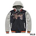 MLB-底特律老虎隊鋪棉連帽針織撞色棒球外套-深藍(男)