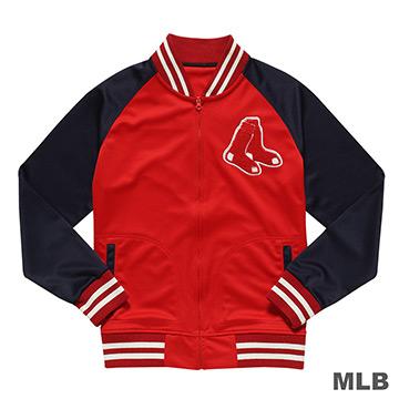 MLB-波士頓紅襪隊毛巾布繡花薄棒球外套-紅 (男)