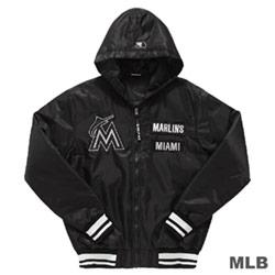 MLB-邁阿密馬林魚隊鋪棉風衣連帽合身棒球外套-黑 (男)