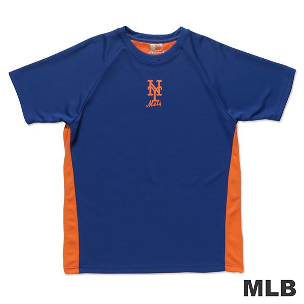 MLB-紐約大都會隊修身撞色快排拉克蘭T恤-藍 (男)