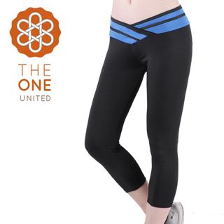 【The One】輕柔彈力造型拚色七分瑜珈褲/運動褲-藍色