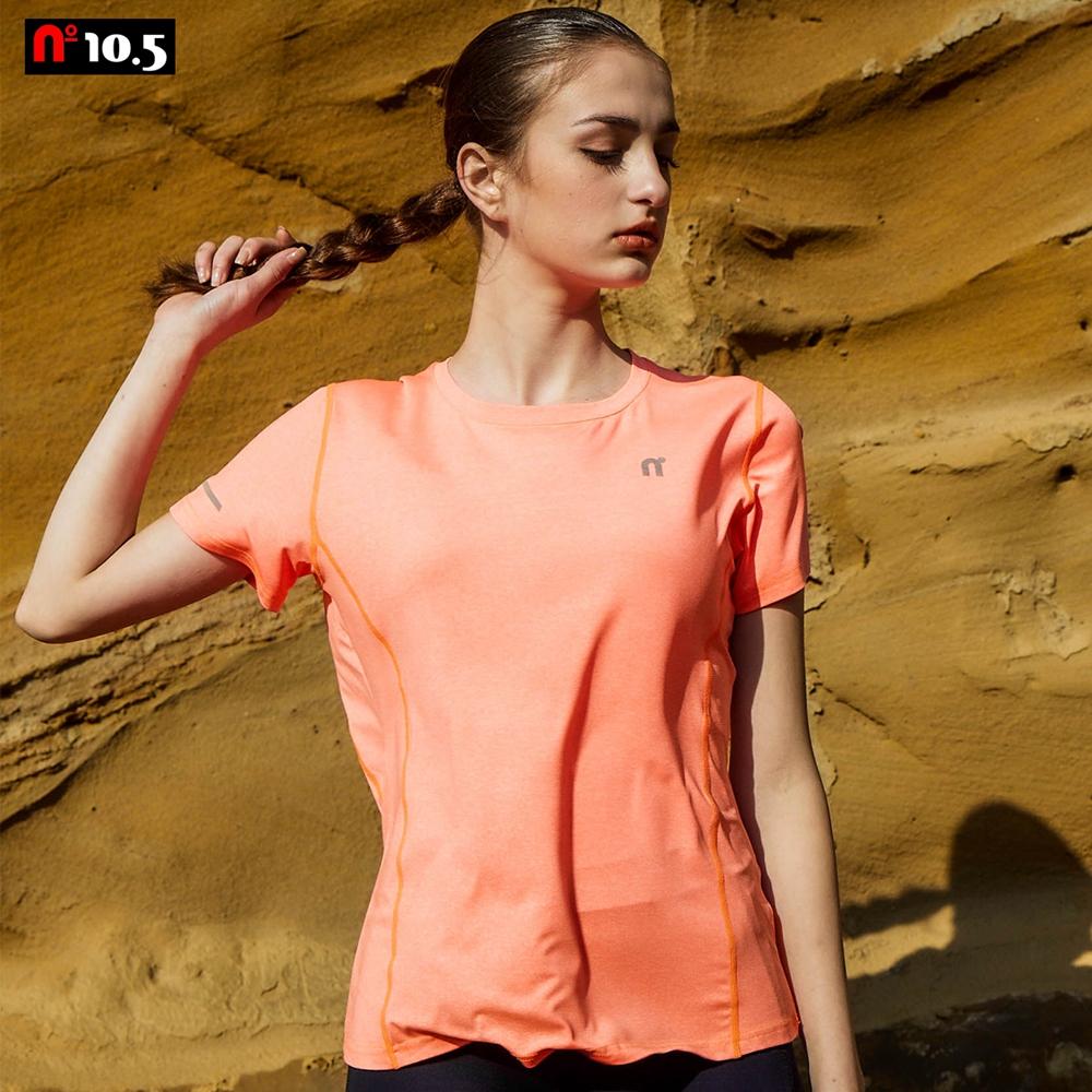 【n10.5】女款麻紋機能透氣排汗T恤素面運動上衣_亮橘 N30J21109-65