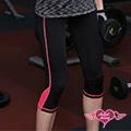【天使霓裳】螢光條紋女款 素色提臀透氣運動褲 (亮粉M.L)