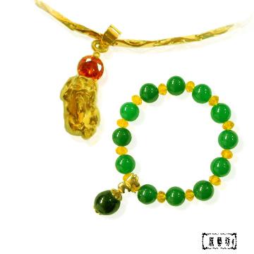 【原藝坊】鋯石晶鑽 咬錢貔貅仿金項鍊+鐵龍生翡翠圓珠手鍊  套裝組
