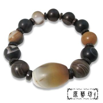【原藝坊】瑪瑙天珠開運圓珠手鍊(直徑15 mm)
