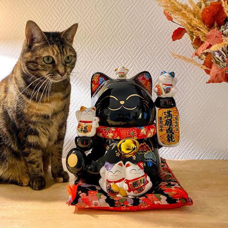 【金石工坊】滿願成就轉運貓-大 黑色 招財貓║高25.5CM