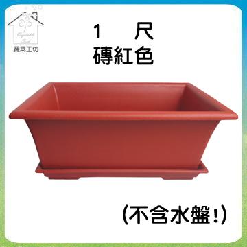 【蔬菜工坊】中興1尺長方盆磚紅色