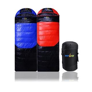 購瘋趣冬季睡袋~藍黑/紅黑兩色拆帽可拼接
