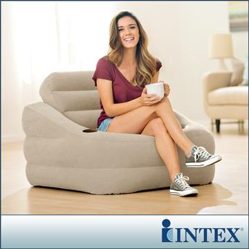 INTEX 歐式充氣沙發(可拆式靠背)-褐灰色