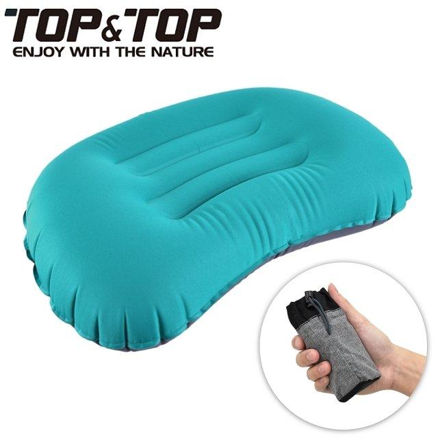 【韓國TOP&TOP】人體工學超輕便攜式口袋充氣睡枕 藍色