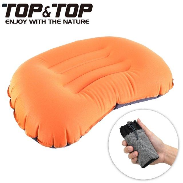 【韓國TOP&TOP】人體工學超輕便攜式口袋充氣睡枕 橘色