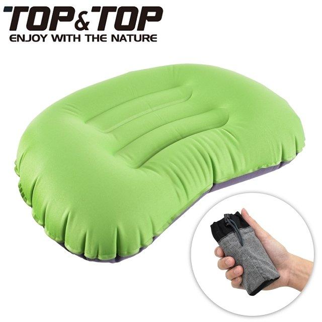 【韓國TOP&TOP】人體工學超輕便攜式口袋充氣睡枕 綠色