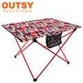 【OUTSY嚴選】航太級鋁合金超輕量布折疊桌/布蛋捲桌 (紅灰森林迷彩)