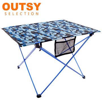 【OUTSY嚴選】航太級鋁合金超輕量布折疊桌/布蛋捲桌 (藍黑森林迷彩)