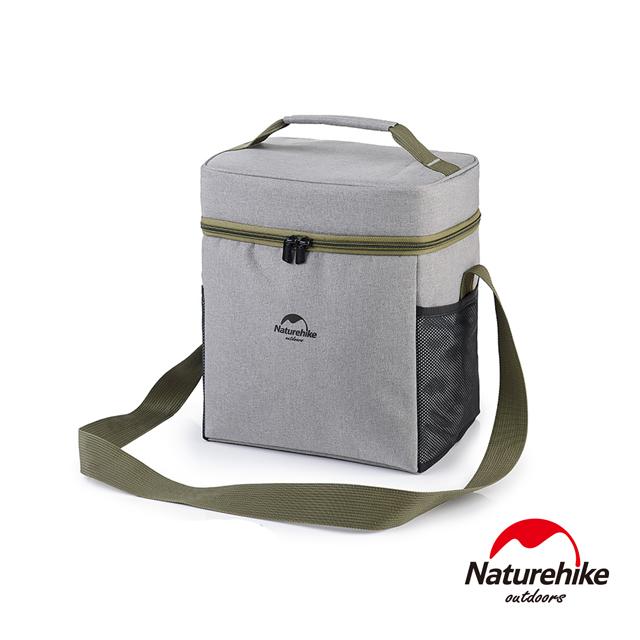 Naturehike 豪華版輕量野餐兩用保溫包 保冰包 大號 附保鮮盒+USB加熱片 淺灰
