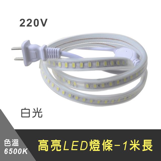 220V 5730高亮LED燈條-1米長(色溫6500K 白光)