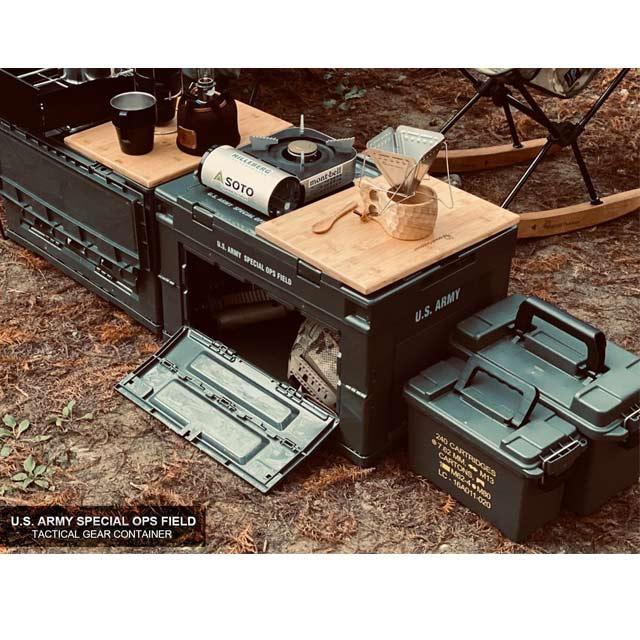【CampingBar】日本夯物-軍風折疊側開收納箱 居家收納 側開收納箱 折疊收納箱 露營收納箱-軍綠色