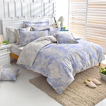 《甜蜜戀香-藍》精梳純棉雙人全鋪棉兩用被床包組