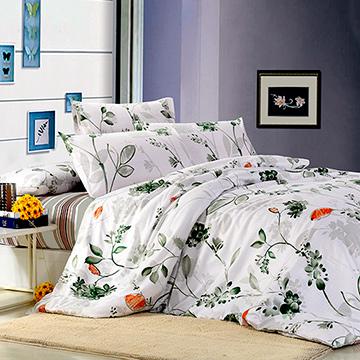 【花葉濃情】雙人印花三件式床包組