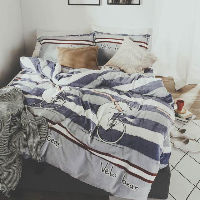 日和賞 單車熊 法蘭絨鋪棉床包(被套)四件組-雙人加大6尺