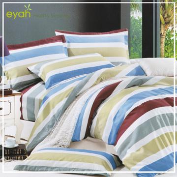eyah宜雅台灣製極致蜜磨絨-單人床包被套三件組-悠閒日子