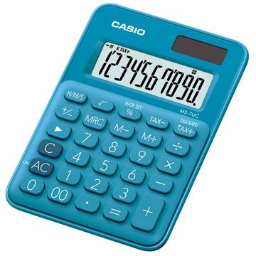 【CASIO 】10位元繽紛馬卡龍色迷你型計算機-俏藍莓 (MS-7UC-BU)