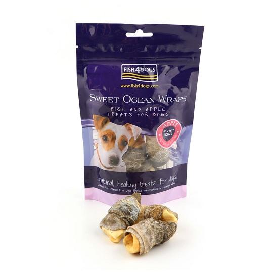 【海洋之星FISH4DOGS】營養潔齒點心-蘋果派魚皮(100g*1)