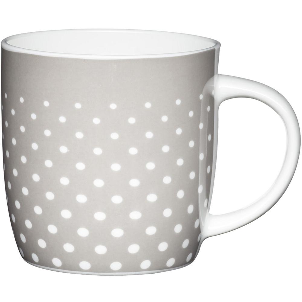 KitchenCraft 骨瓷馬克杯(圓點灰425ml)