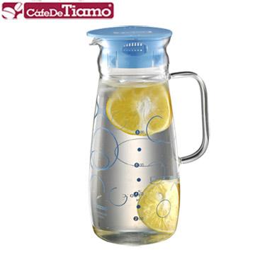 Tiamo 幾何圖案玻璃水壺把手款 1.0L-藍色(HG2214)