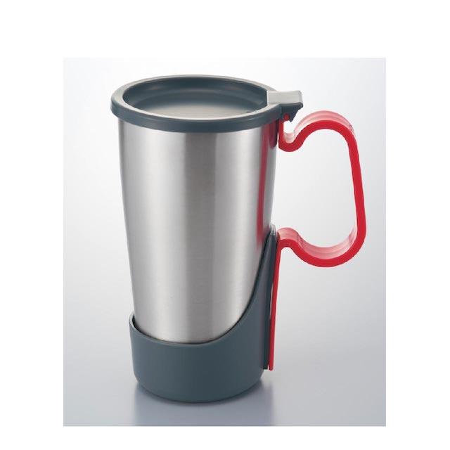 【日本IMOTANI】真空不鏽鋼保溫保冷杯 450ml (可拆式把手+上蓋)紅