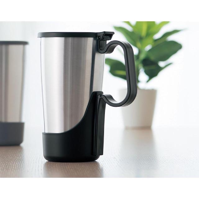 【日本IMOTANI】真空不鏽鋼保溫保冷杯 450ml (可拆式把手+上蓋)黑
